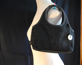 The Sak, petite black Crochet purse, handbag with pink lining  (multiple compartments)