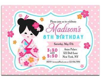 Chinese invitations etsy asian chinese kokeshi doll birthday invitation printable or printed with free shipping kokeshi doll collection filmwisefo Image collections