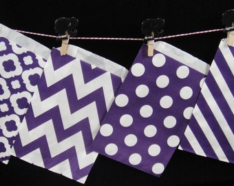 Purple CHEVRON Favor Bags, Candy Buffet Bags, Candy Bags, Paper Bags, Birthday Parties, Packaging, Baking Supply, Wedding - Qty 12