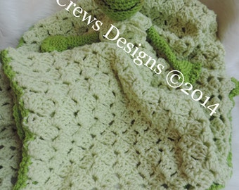 Crochet Pattern Frog Huggy Lovey Blanket by Teri Crews Wool and Whims Instant Download PDF format