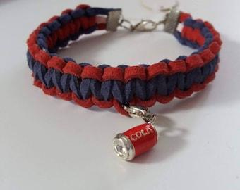 Suede leather BRAID bracelet, blue & Red