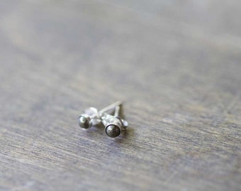 Tiny Pyrite Stud Earrings on 14k Gold Filled or Sterling Silver Post, 3mm Pyrite Bezel Set Gold Filled Gemstone Earrings
