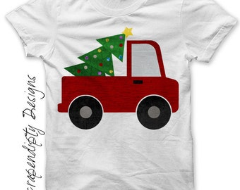 Christmas Outfit Iron on Transfer - Iron on Truck Shirt / Christmas Tree Truck T-Shirt / Holiday Kids Clothing / Boys Christmas Shirt 481