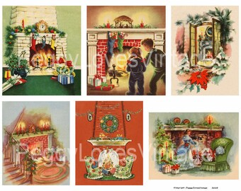 Fireplace 1 Digital Collage from Vintage Christmas Greeting Cards -  Instant Download - Cut Outs