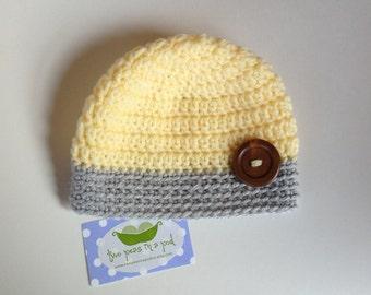 Baby Hat - Crocheted Baby Hat - Photo Prop - Knit Hat - Newborn Hat - Gray/Yellow Hat - Knit Baby Hat