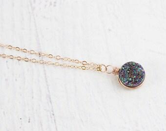 Rainbow Druzy Necklace, Bridesmaid Necklace, Rose Gold Necklace, Druzy Pendant Necklace, Wire Wrap Necklace, Druzy Geode Necklace