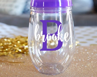 Purple Stemless Acrylic Wine Tumbler - Bev2Go -Custom Personalized Monogrammed Tumbler