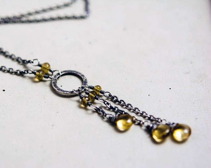 Helios Necklace AAA Microfaceted Citrine Quartz Briolettes on Oxidized Sterling Silver Hoop