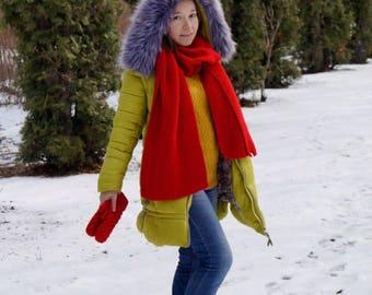Women's Red Knit Wool Scarf / Handmade Scarf / Knit Scarf