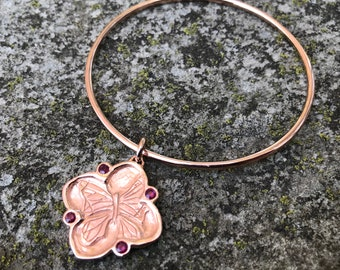 SALE Rubies in Rose Gold Plated Pink Silver-Cherry Blossom/ Butterfly Bangle