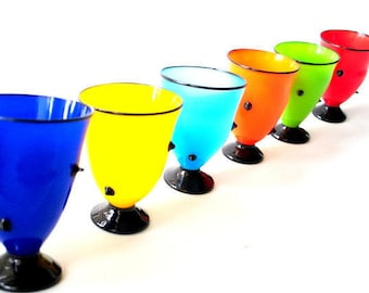 Mod  vintage 60s, hand blown, bright multicolor , six drinking glass with a low ball. Accented with  a black nubs.
