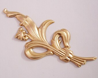 Large Branch  Leaf Flower Embellishment  Raw  Brass  Stamping Pendant .