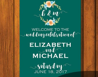 Fall Turquoise Watercolor Wedding Welcome Sign / Welcome Sign / Digital File / Print At Home / Wedding Signs / 18x24