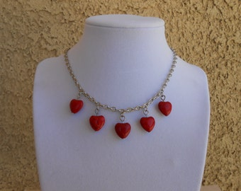 Red Howlite Hearts Necklace