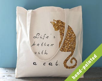 cat tote bag, Cotton tote bag, Eco bag, cat bag, cat tote, hand-painted tote bag, tote bag, cat lover gift,  cat, tote, cat gift, cat gifts