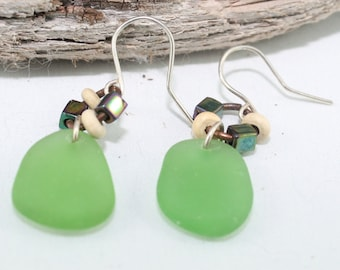 PEI Kelly Green seaglass earrings