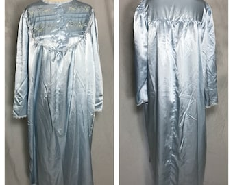 Delicates Pale Blue Cuddle Touch Nightgown with Button Bodice, Embroidered and Lace Trimmed Yoke - Medium