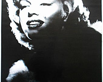 MARILYN MONROE Smiling Black And White Photo 34 x 23 Inch Vintage POSTER