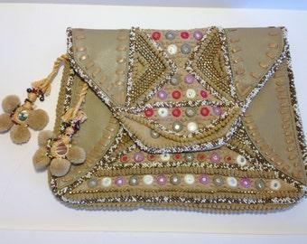 Sale Antik Batik Ale Clutch Net-A-Porter Free People Ale Tan Leather Embellished Bag Ale Clutch Bohemian Bag