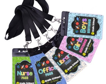 Set of 5 Classroom Passes - Science Class - School Pass - ID Badge - Holders and Lanyards Included - PHYSICAL item