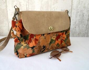 Abricot and brown shoulder bag, autumn bag