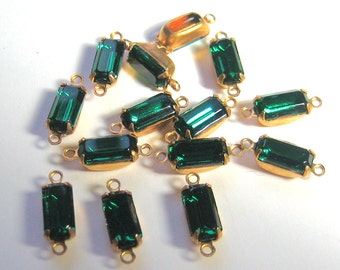 14 - 10x5 Emerald Green Octagons Mounted in 2 Ring Brass Prong Rhinestone Setting