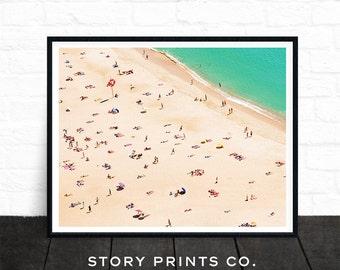 Beach Prints, Beach Art, People on the Beach, Aerial Beach Photography, Coastal Prints, Ocean Art, Landscape Wall Art, Printable Photo Print