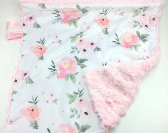 Floral Baby Blanket ~  Minky Lovey Blanket ~ Baby Girl Lovey ~  Watercolor Floral ~ Pink Blush Rose Floral Blanket ~ Faux Fur Blanket