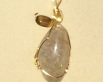 Rutilated Quartz Pendant Wire Wrapped Necklace