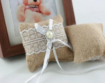 Burlap Ring Bearer Pillow,Hessian Wedding Cushion, Linen,Jute Wedding Supply,Bridal Shower Accessory