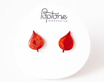 Red Leaf Earrings, fall leaves earrings, autumn leaf studs, red woodland jewelry