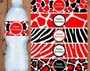 Red Animal Print Water Bottle Labels - Red Zebra Water Bottle Labels - Red Leopard Water Bottle Labels - Digital Animal Print Labels