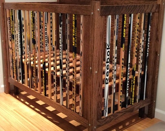 Custom Oak Crib Made With Hockey Sticks
