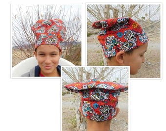 Handmade Wacky Chefs Beanie Hat Red Day Of The Dead Sized to Fit