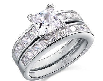 1 Ct Created Diamond 925 Sterling Silver Wedding Engagement Ring Set Designer Jewelry 8020