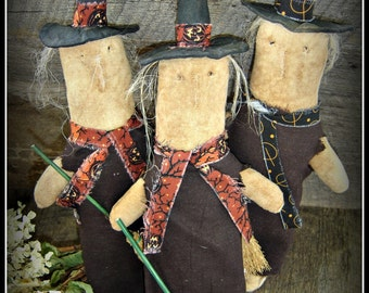 Prim Witch Cupboard Tucks Autumn Fall Halloween sewing epattern