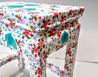 Little girls, bright and beautiful hand finished stool