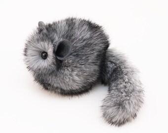 Chinchilla Stuffed Animal Cute Plush Toy Chinchilla Kawaii Plushie Fluffy the Light Grey Chinchilla Toy Small 4x5 Inches Stocking Stuffer