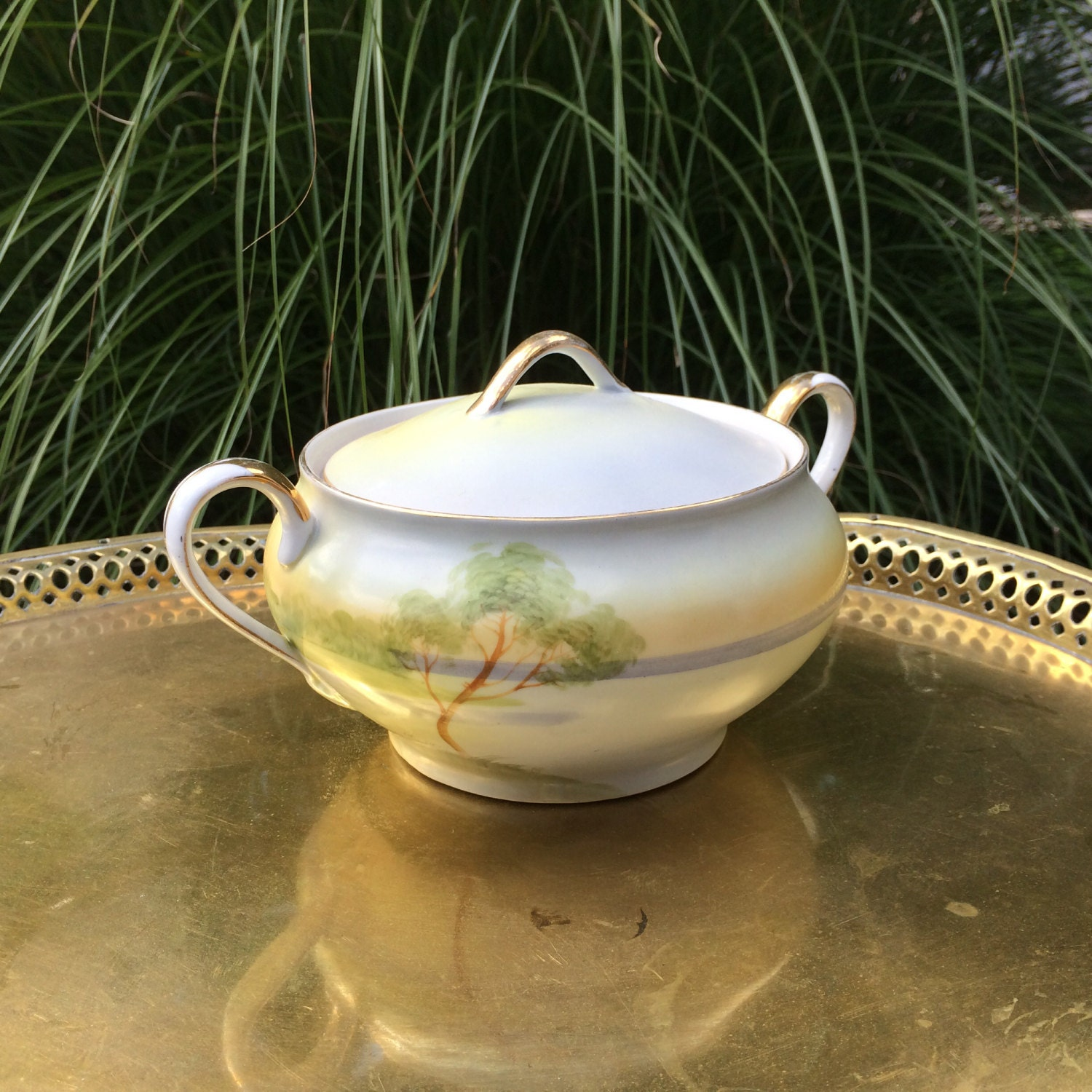 Vintage Nippon China Bowl and Lid. Early 1900s Hand Painted Nippon China
