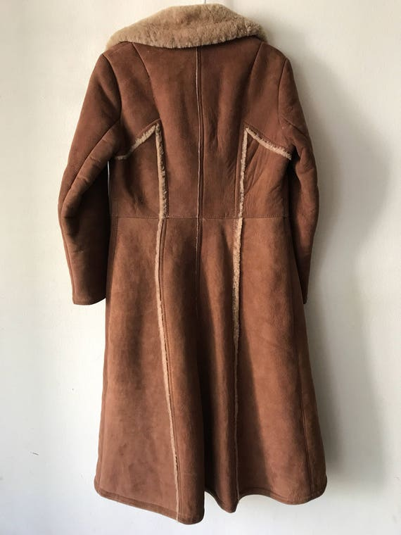Vintage Small Comfy Sheepskin Coat Extra Fur And Women's Genuine Elegant Long Brown Size Warm Zq566S
