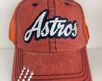 ASTROS Bling Hat - Distressed Trucker Cap- Astros Baseball - Swarovski Rhinestones