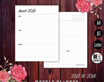 Weekly Planner Printable, 2017-2018 Dated Weekly Planner, Filofax A5, Kikki K A4, Letter, Week on two pages, 2017 Calendar, A5 Planner Pages