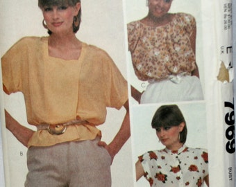 McCall's 7969 Misses  Blouse Vintage Sewing Pattern New/ Uncut Size 16