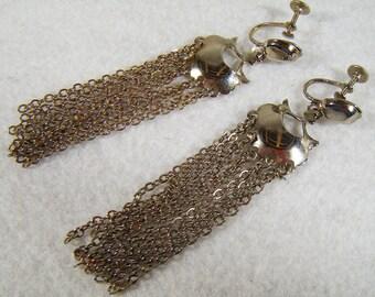 Vintage 70's Silver Chain Screw Back Earrings