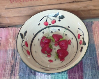 Cherry red berry bowl - Handmade ceramic colander strainer - Rustic Fruit Bowl - Pottery Berry Bowl - pottery strainer - berry1009