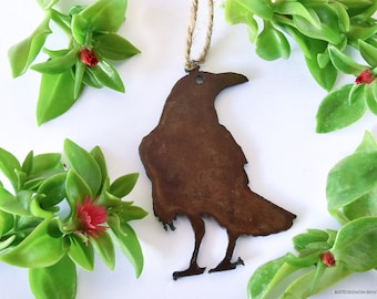Raven Ornament, Rusty Metal Ornament, Rustic, Gift for Bird Watcher, Crow, Bird Lover, Christmas Ornament, Southwest, Country, Yard art