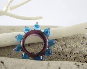 Purple Lampwork Glass large bead