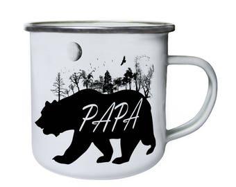 Papa Bear Wild Nature Retro,Tin, Enamel 10oz Mug u338e