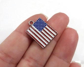 5, American Flag Enamel Charms 22x15x2mm ITEM:BI4