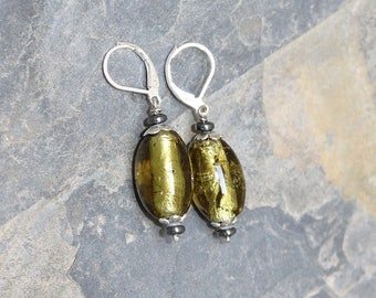 Chartreuse Earrings, Glass Earrings, Spring Green Earrings, Summer Earrings, Sparkly Earrings, Handmade Earrings, Dangly Earrings, For Her